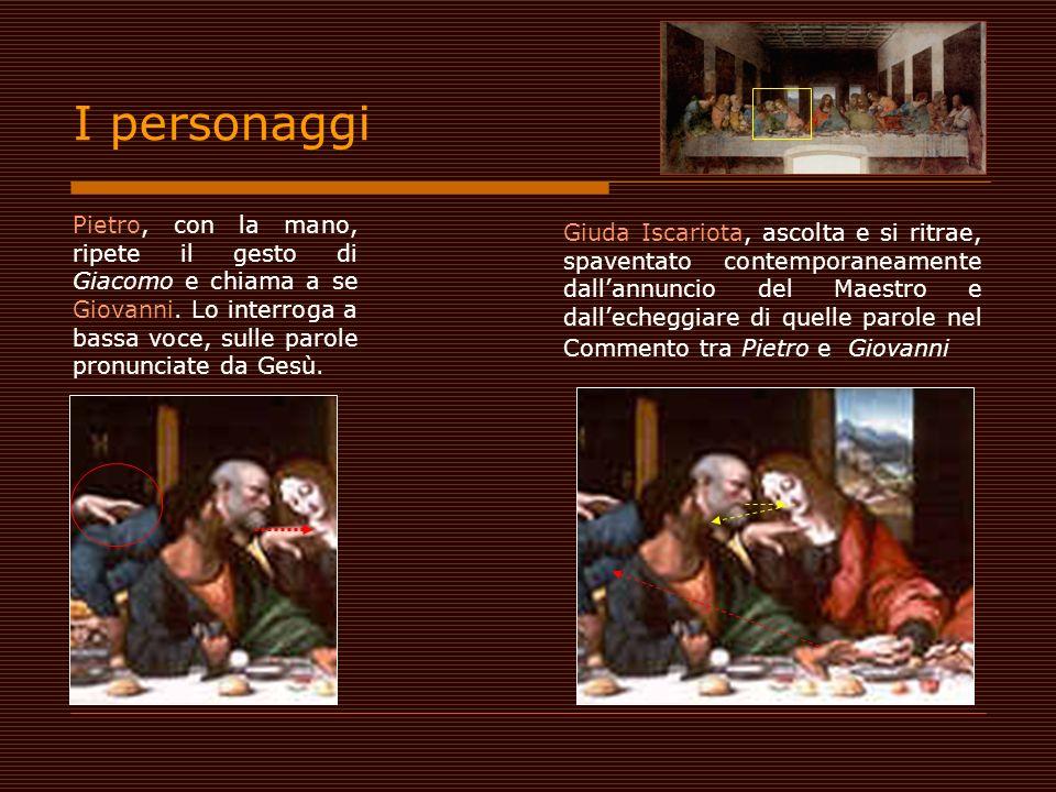 Pietro, con la mano, ripete il gesto di Giacomo e chiama a se Giovanni. Lo interroga a bassa voce, sulle parole pronunciate da Gesù. Giuda Iscariota,