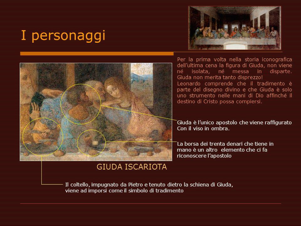 GIUDA ISCARIOTA Giuda è lunico apostolo che viene raffigurato Con il viso in ombra. La borsa dei trenta denari che tiene in mano è un altro elemento c