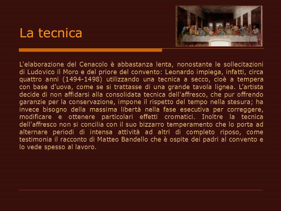 L'elaborazione del Cenacolo è abbastanza lenta, nonostante le sollecitazioni di Ludovico il Moro e del priore del convento: Leonardo impiega, infatti,