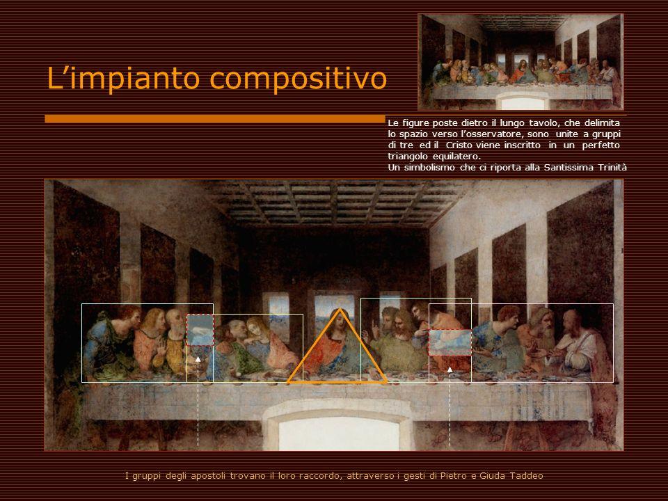 Limpianto compositivo Le figure poste dietro il lungo tavolo, che delimita lo spazio verso losservatore, sono unite a gruppi di tre ed il Cristo viene