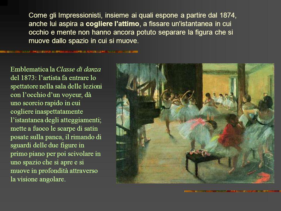 Come gli Impressionisti, insieme ai quali espone a partire dal 1874, anche lui aspira a cogliere l attimo, a fissare un istantanea in cui occhio e mente non hanno ancora potuto separare la figura che si muove dallo spazio in cui si muove.
