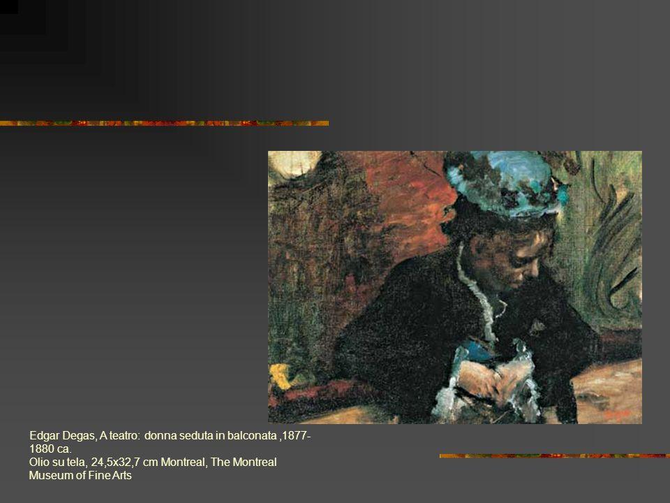 Edgar Degas, A teatro: donna seduta in balconata,1877- 1880 ca. Olio su tela, 24,5x32,7 cm Montreal, The Montreal Museum of Fine Arts
