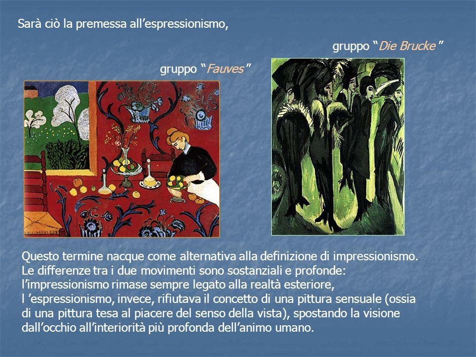 Sarà ciò la premessa allespressionismo, Questo termine nacque come alternativa alla definizione di impressionismo.
