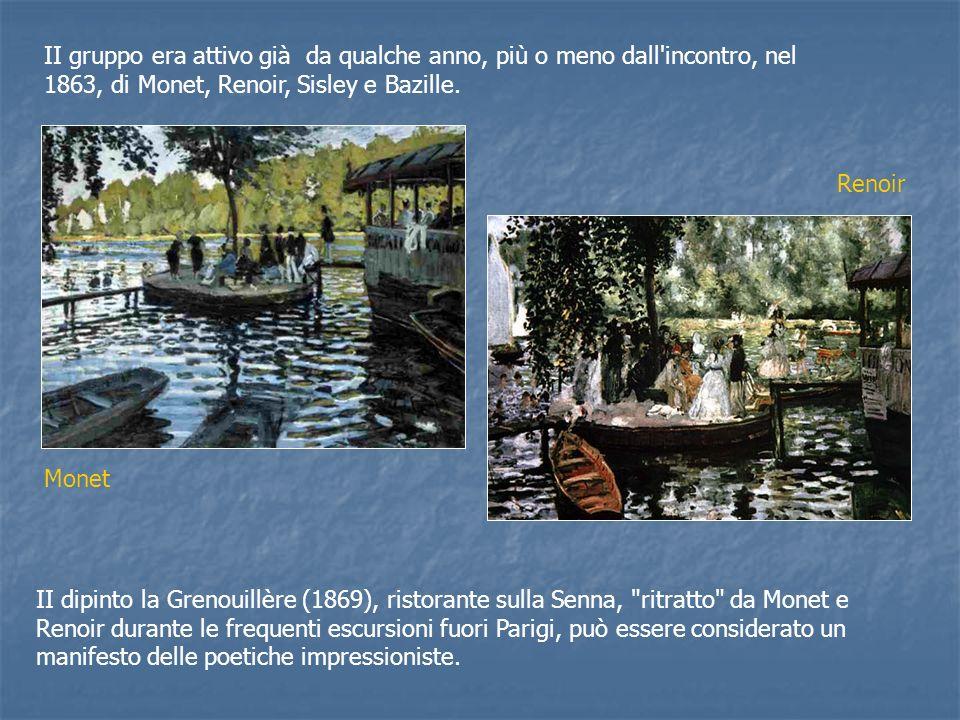 II dipinto la Grenouillère (1869), ristorante sulla Senna, ritratto da Monet e Renoir durante le frequenti escursioni fuori Parigi, può essere considerato un manifesto delle poetiche impressioniste.