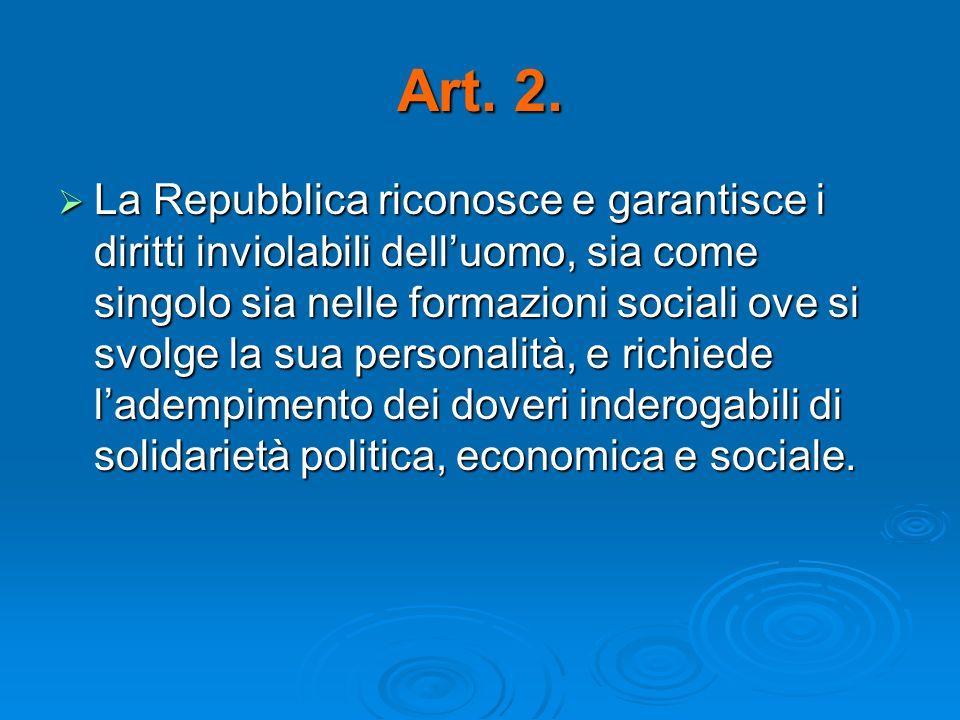 Art. 2. La Repubblica riconosce e garantisce i diritti inviolabili delluomo, sia come singolo sia nelle formazioni sociali ove si svolge la sua person