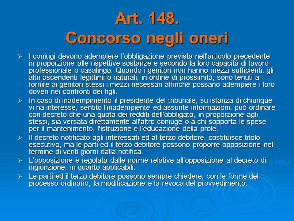 Art. 148. Concorso negli oneri I coniugi devono adempiere l'obbligazione prevista nell'articolo precedente in proporzione alle rispettive sostanze e s