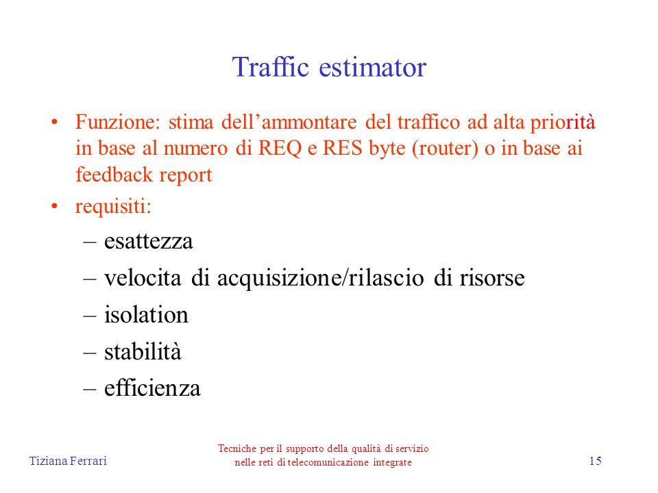 Tiziana Ferrari Tecniche per il supporto della qualità di servizio nelle reti di telecomunicazione integrate 15 Traffic estimator Funzione: stima dellammontare del traffico ad alta priorità in base al numero di REQ e RES byte (router) o in base ai feedback report requisiti: –esattezza –velocita di acquisizione/rilascio di risorse –isolation –stabilità –efficienza