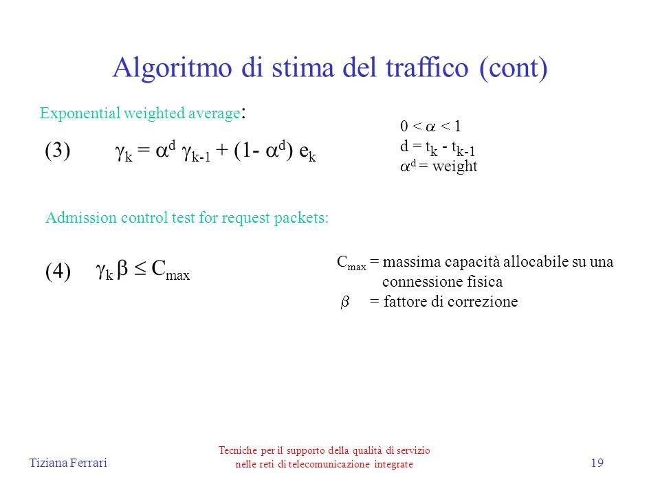 Tiziana Ferrari Tecniche per il supporto della qualità di servizio nelle reti di telecomunicazione integrate 19 Algoritmo di stima del traffico (cont) Exponential weighted average : k = d k-1 + (1- d ) e k 0 < < 1 d = t k - t k-1 d = weight Admission control test for request packets: k C max C max = massima capacità allocabile su una connessione fisica = fattore di correzione (3) (4)