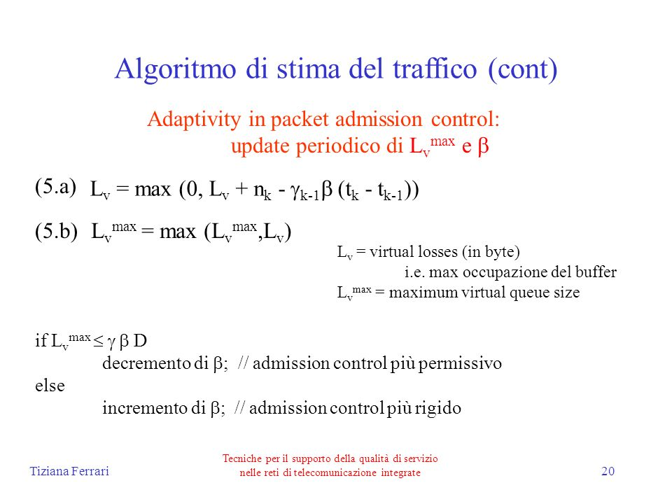 Tiziana Ferrari Tecniche per il supporto della qualità di servizio nelle reti di telecomunicazione integrate 20 Algoritmo di stima del traffico (cont) Adaptivity in packet admission control: update periodico di L v max e L v = max (0, L v + n k - k-1 (t k - t k-1 )) L v max = max (L v max,L v ) L v = virtual losses (in byte) i.e.
