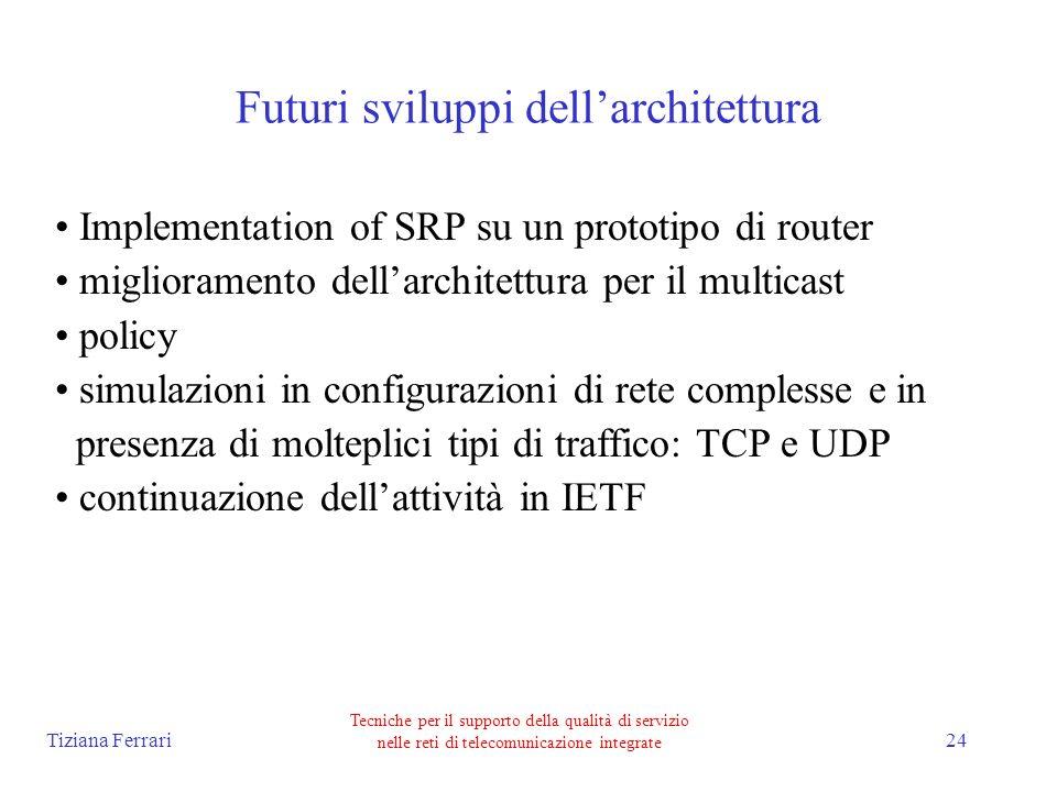 Tiziana Ferrari Tecniche per il supporto della qualità di servizio nelle reti di telecomunicazione integrate 24 Futuri sviluppi dellarchitettura Implementation of SRP su un prototipo di router miglioramento dellarchitettura per il multicast policy simulazioni in configurazioni di rete complesse e in presenza di molteplici tipi di traffico: TCP e UDP continuazione dellattività in IETF