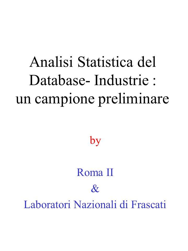 Analisi Statistica del Database- Industrie : un campione preliminare by Roma II & Laboratori Nazionali di Frascati