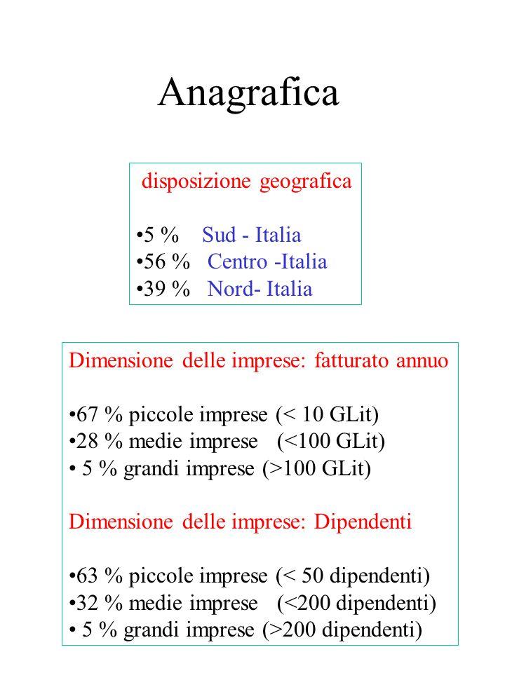 Anagrafica disposizione geografica 5 % Sud - Italia 56 % Centro -Italia 39 % Nord- Italia Dimensione delle imprese: fatturato annuo 67 % piccole imprese (< 10 GLit) 28 % medie imprese (<100 GLit) 5 % grandi imprese (>100 GLit) Dimensione delle imprese: Dipendenti 63 % piccole imprese (< 50 dipendenti) 32 % medie imprese (<200 dipendenti) 5 % grandi imprese (>200 dipendenti)