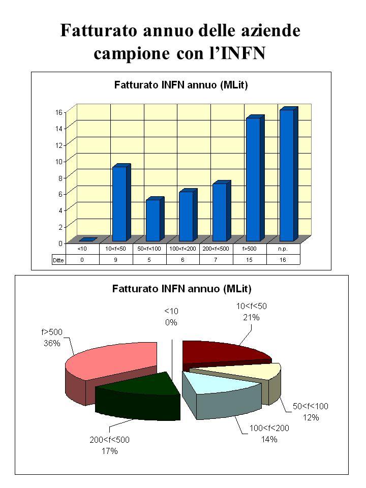 Fatturato annuo delle aziende campione con lINFN
