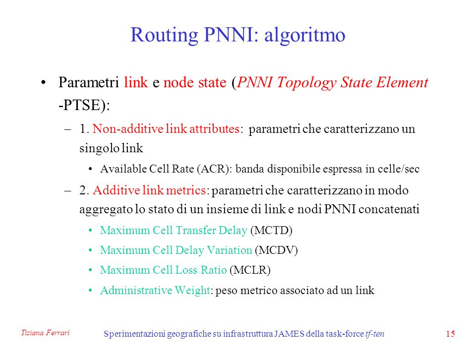 Tiziana Ferrari Sperimentazioni geografiche su infrastruttura JAMES della task-force tf-ten15 Routing PNNI: algoritmo Parametri link e node state (PNNI Topology State Element -PTSE): –1.