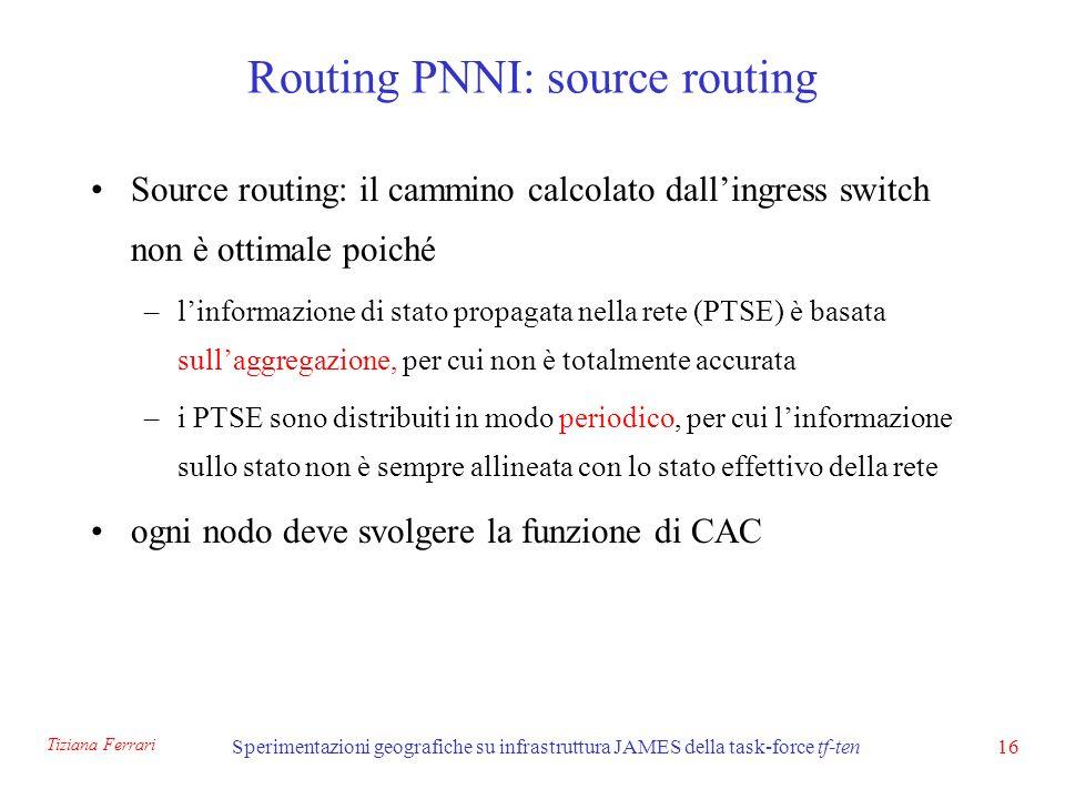 Tiziana Ferrari Sperimentazioni geografiche su infrastruttura JAMES della task-force tf-ten16 Routing PNNI: source routing Source routing: il cammino calcolato dallingress switch non è ottimale poiché –linformazione di stato propagata nella rete (PTSE) è basata sullaggregazione, per cui non è totalmente accurata –i PTSE sono distribuiti in modo periodico, per cui linformazione sullo stato non è sempre allineata con lo stato effettivo della rete ogni nodo deve svolgere la funzione di CAC