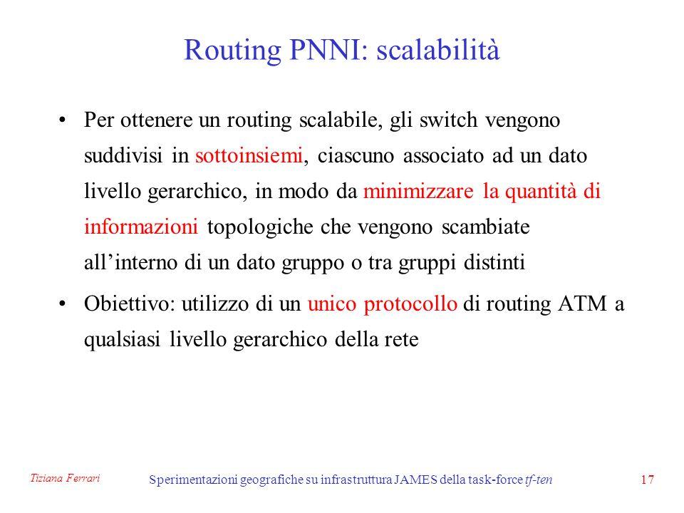 Tiziana Ferrari Sperimentazioni geografiche su infrastruttura JAMES della task-force tf-ten17 Routing PNNI: scalabilità Per ottenere un routing scalabile, gli switch vengono suddivisi in sottoinsiemi, ciascuno associato ad un dato livello gerarchico, in modo da minimizzare la quantità di informazioni topologiche che vengono scambiate allinterno di un dato gruppo o tra gruppi distinti Obiettivo: utilizzo di un unico protocollo di routing ATM a qualsiasi livello gerarchico della rete
