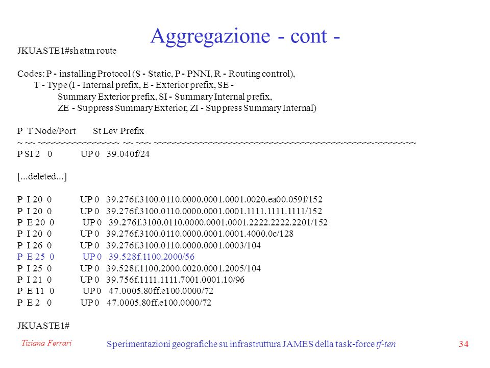 Tiziana Ferrari Sperimentazioni geografiche su infrastruttura JAMES della task-force tf-ten34 Aggregazione - cont - JKUASTE1#sh atm route Codes: P - installing Protocol (S - Static, P - PNNI, R - Routing control), T - Type (I - Internal prefix, E - Exterior prefix, SE - Summary Exterior prefix, SI - Summary Internal prefix, ZE - Suppress Summary Exterior, ZI - Suppress Summary Internal) P T Node/Port St Lev Prefix ~ ~~ ~~~~~~~~~~~~~~~~ ~~ ~~~ ~~~~~~~~~~~~~~~~~~~~~~~~~~~~~~~~~~~~~~~~~~~~~~~~~~~ P SI 2 0 UP 0 39.040f/24 [...deleted...] P I 20 0 UP 0 39.276f.3100.0110.0000.0001.0001.0020.ea00.059f/152 P I 20 0 UP 0 39.276f.3100.0110.0000.0001.0001.1111.1111.1111/152 P E 20 0 UP 0 39.276f.3100.0110.0000.0001.0001.2222.2222.2201/152 P I 20 0 UP 0 39.276f.3100.0110.0000.0001.0001.4000.0c/128 P I 26 0 UP 0 39.276f.3100.0110.0000.0001.0003/104 P E 25 0 UP 0 39.528f.1100.2000/56 P I 25 0 UP 0 39.528f.1100.2000.0020.0001.2005/104 P I 21 0 UP 0 39.756f.1111.1111.7001.0001.10/96 P E 11 0 UP 0 47.0005.80ff.e100.0000/72 P E 2 0 UP 0 47.0005.80ff.e100.0000/72 JKUASTE1#