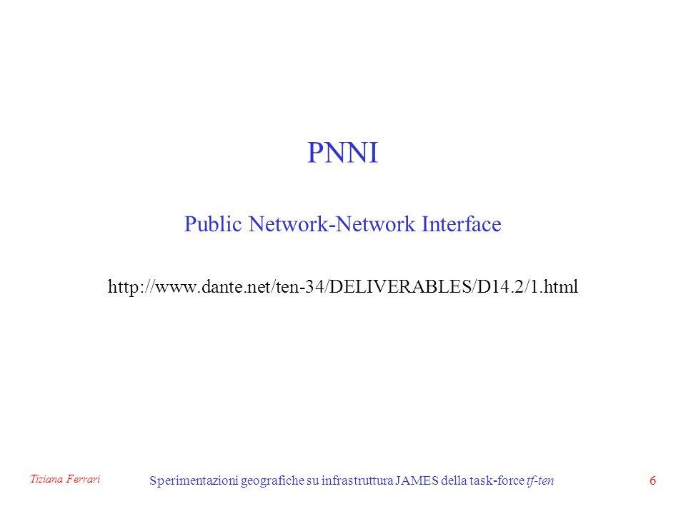 Tiziana Ferrari Sperimentazioni geografiche su infrastruttura JAMES della task-force tf-ten37 Bibliografia Private Network-network Interface, Spec.