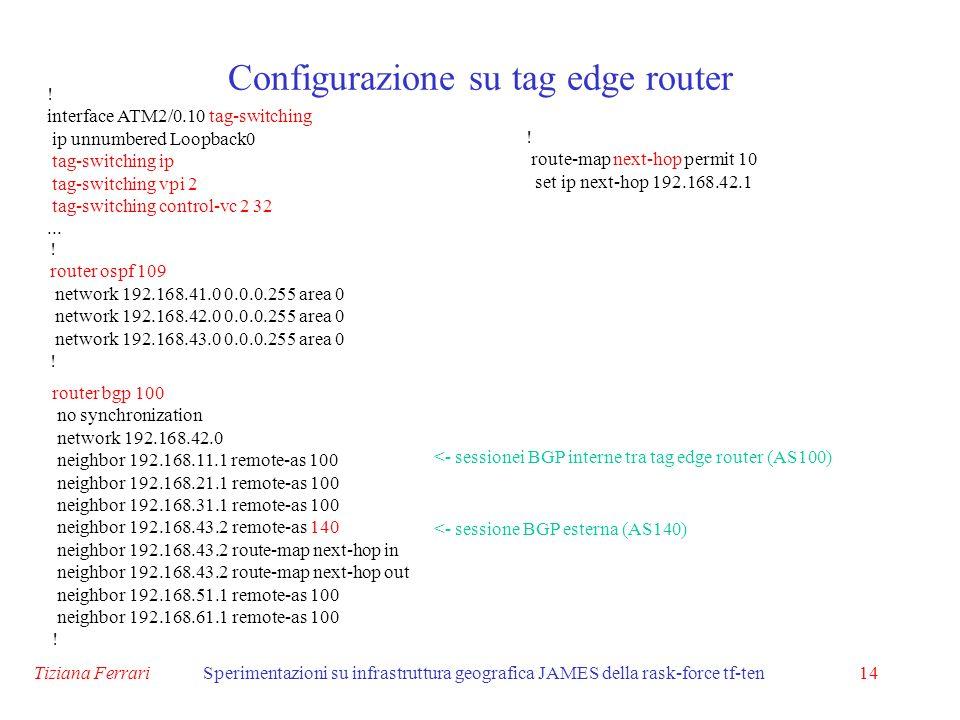 Tiziana FerrariSperimentazioni su infrastruttura geografica JAMES della rask-force tf-ten14 Configurazione su tag edge router .
