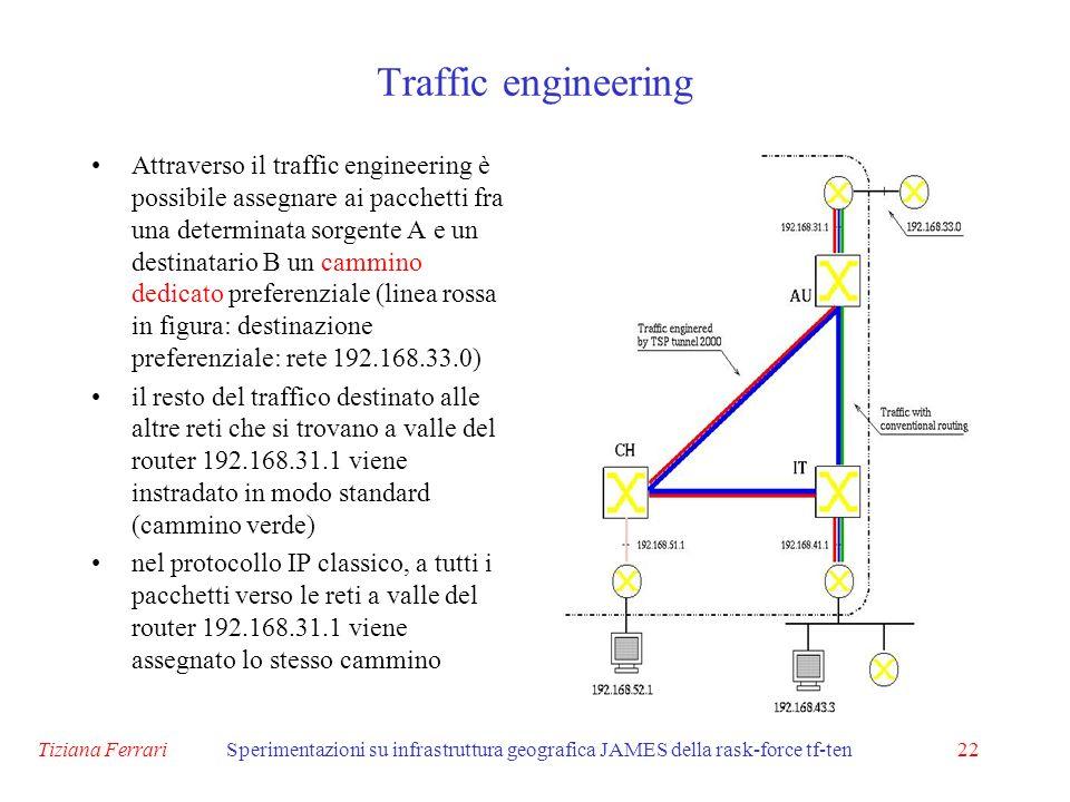 Tiziana FerrariSperimentazioni su infrastruttura geografica JAMES della rask-force tf-ten22 Attraverso il traffic engineering è possibile assegnare ai pacchetti fra una determinata sorgente A e un destinatario B un cammino dedicato preferenziale (linea rossa in figura: destinazione preferenziale: rete 192.168.33.0) il resto del traffico destinato alle altre reti che si trovano a valle del router 192.168.31.1 viene instradato in modo standard (cammino verde) nel protocollo IP classico, a tutti i pacchetti verso le reti a valle del router 192.168.31.1 viene assegnato lo stesso cammino Traffic engineering