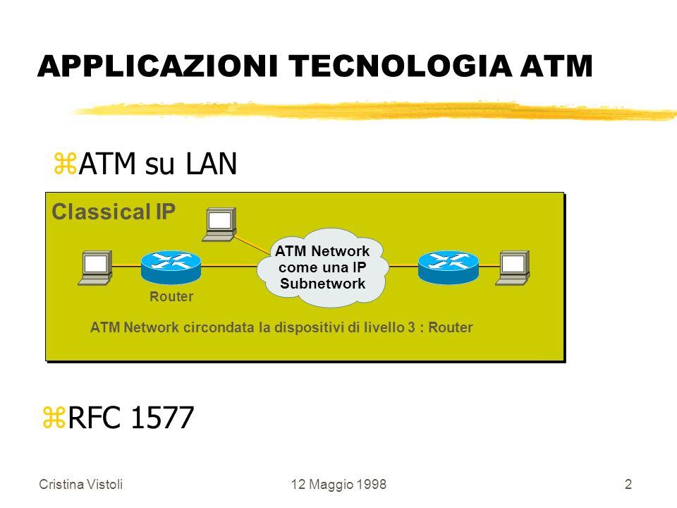 Cristina Vistoli12 Maggio 19982 APPLICAZIONI TECNOLOGIA ATM zRFC 1577 Router ATM Network circondata la dispositivi di livello 3 : Router Classical IP