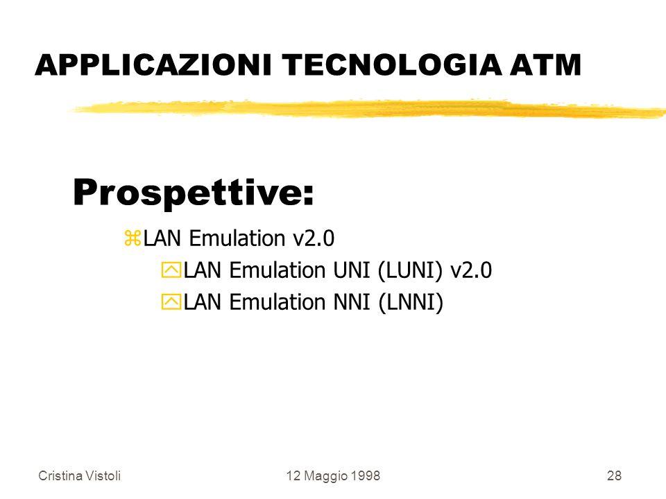 Cristina Vistoli12 Maggio 199828 APPLICAZIONI TECNOLOGIA ATM Prospettive: zLAN Emulation v2.0 yLAN Emulation UNI (LUNI) v2.0 yLAN Emulation NNI (LNNI)