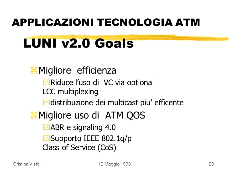 Cristina Vistoli12 Maggio 199829 APPLICAZIONI TECNOLOGIA ATM LUNI v2.0 Goals zMigliore efficienza yRiduce luso di VC via optional LCC multiplexing ydi