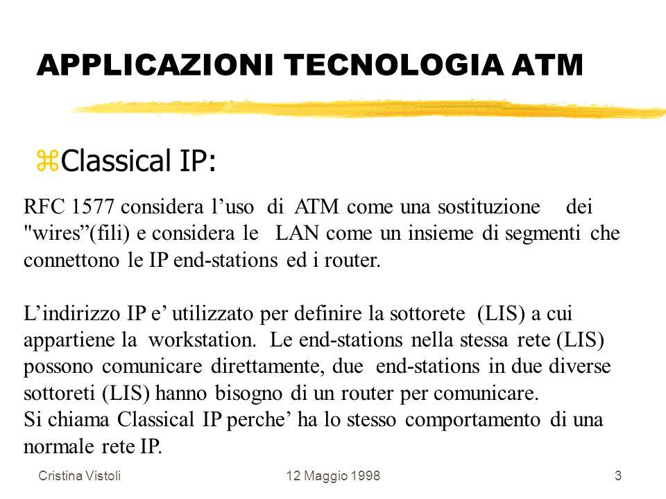 Cristina Vistoli12 Maggio 19983 APPLICAZIONI TECNOLOGIA ATM zClassical IP: RFC 1577 considera luso di ATM come una sostituzione dei