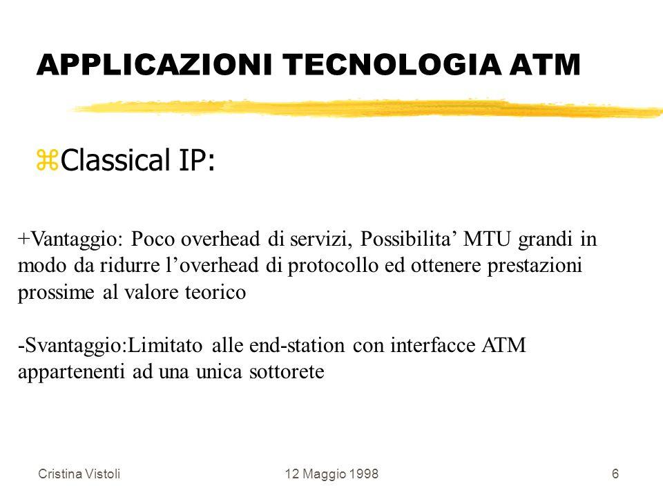 Cristina Vistoli12 Maggio 19986 APPLICAZIONI TECNOLOGIA ATM zClassical IP: +Vantaggio: Poco overhead di servizi, Possibilita MTU grandi in modo da rid