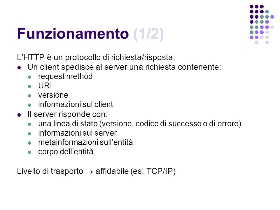 Funzionamento (1/2) LHTTP è un protocollo di richiesta/risposta. Un client spedisce al server una richiesta contenente: request method URI versione in