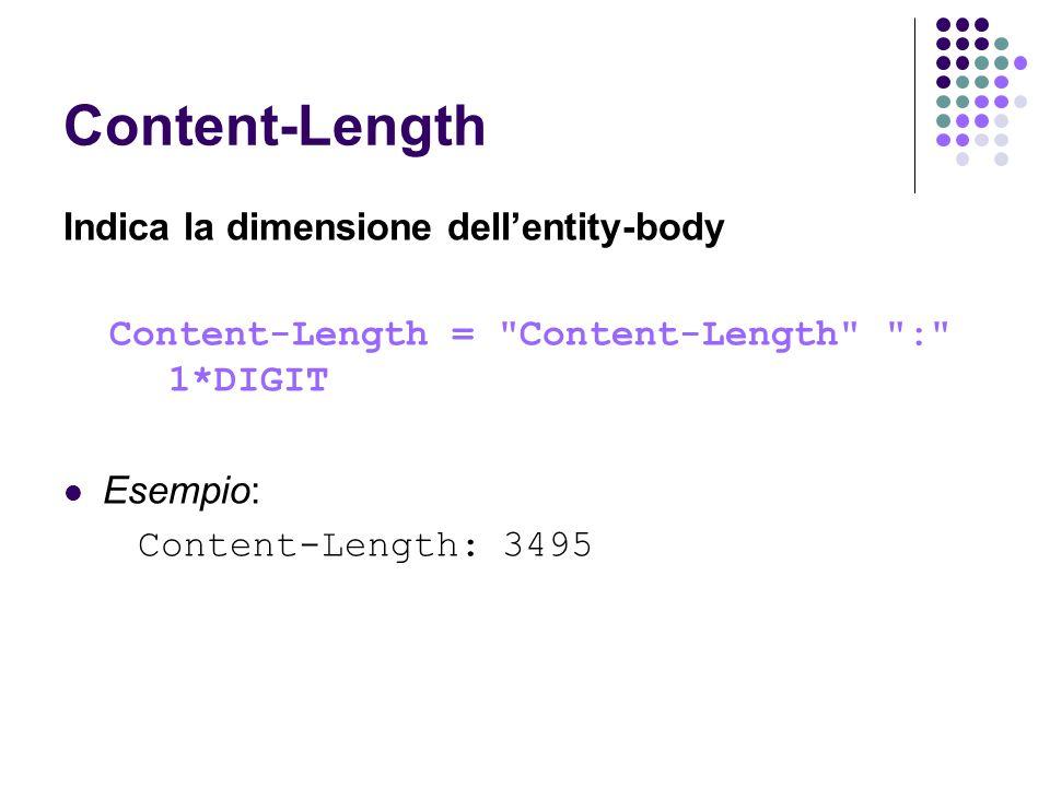Content-Length Indica la dimensione dellentity-body Content-Length =