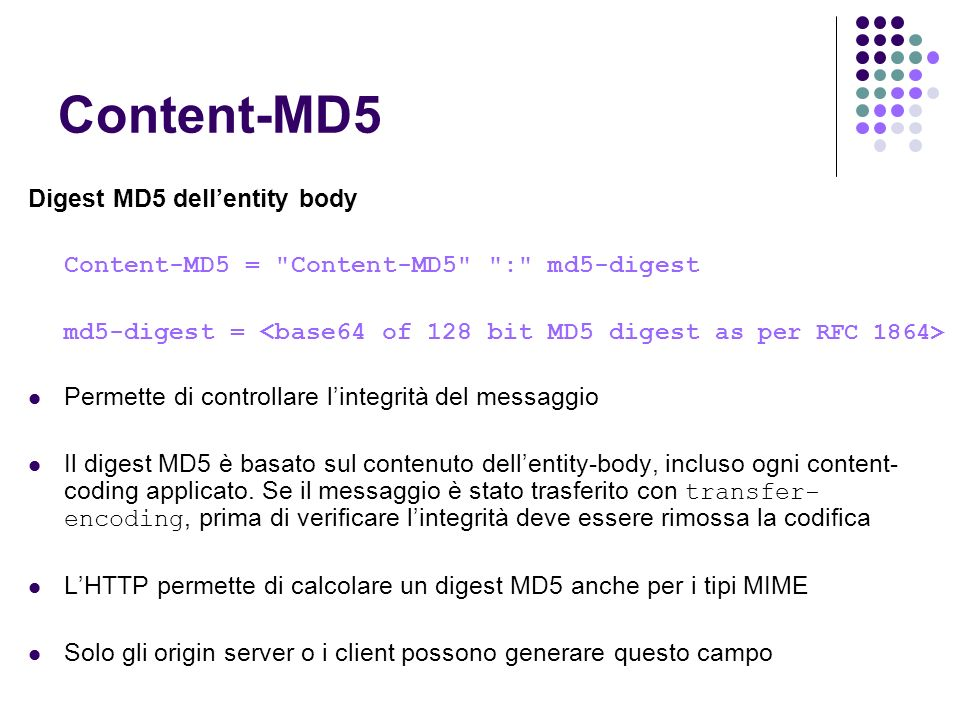 Content-MD5 Digest MD5 dellentity body Content-MD5 =