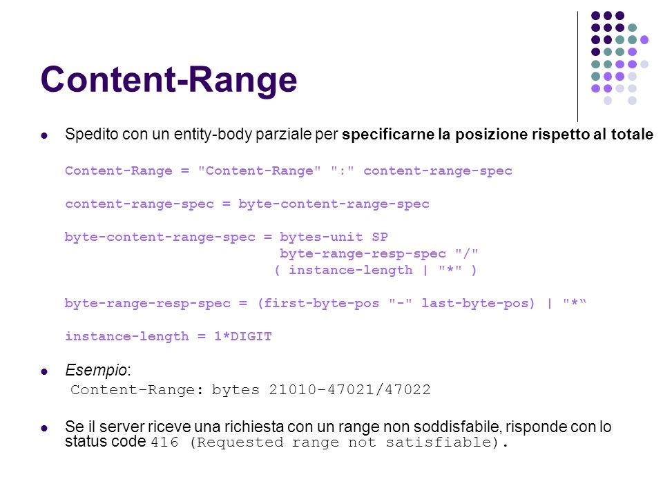 Content-Range Spedito con un entity-body parziale per specificarne la posizione rispetto al totale Content-Range =