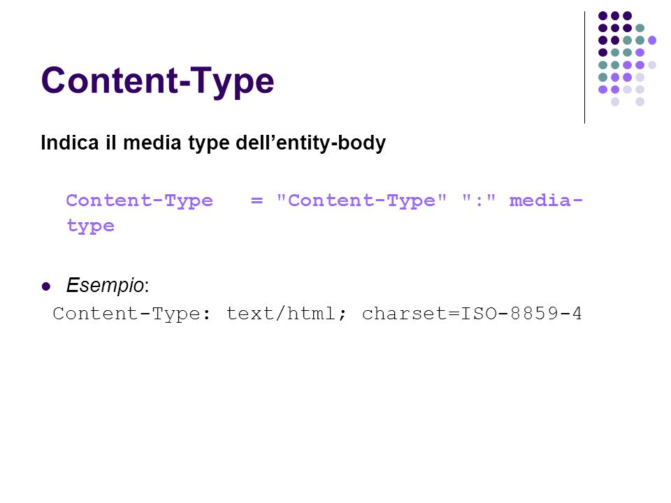 Content-Type Indica il media type dellentity-body Content-Type =