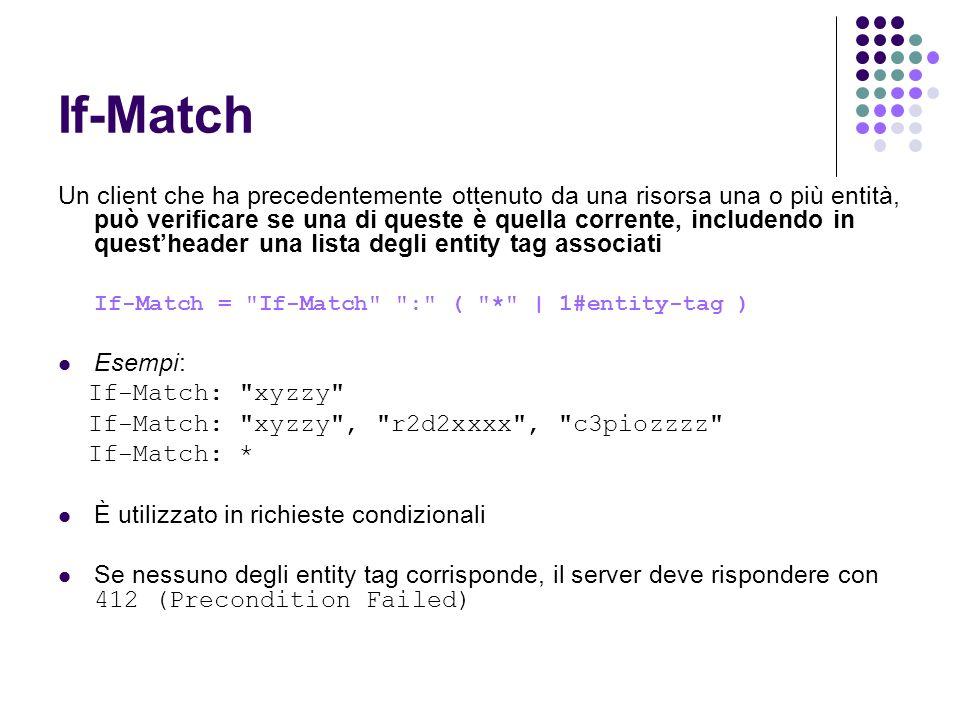 If-Match Un client che ha precedentemente ottenuto da una risorsa una o più entità, può verificare se una di queste è quella corrente, includendo in q