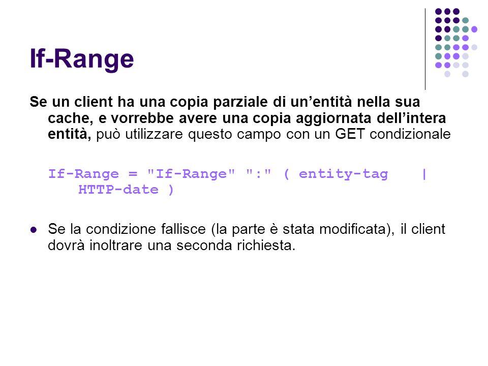 If-Range Se un client ha una copia parziale di unentità nella sua cache, e vorrebbe avere una copia aggiornata dellintera entità, può utilizzare quest