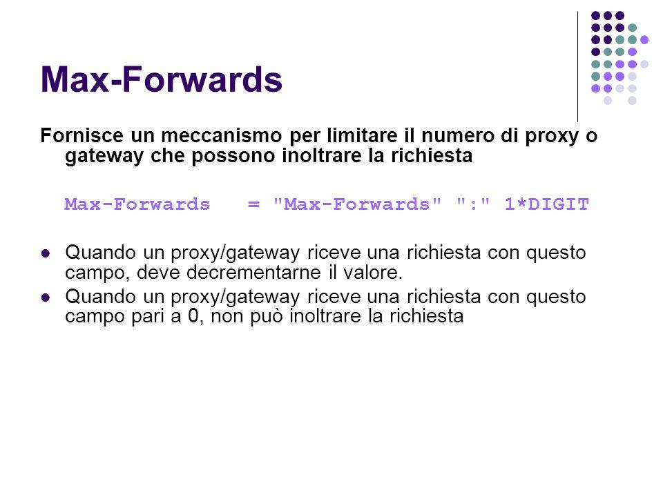 Max-Forwards Fornisce un meccanismo per limitare il numero di proxy o gateway che possono inoltrare la richiesta Max-Forwards =