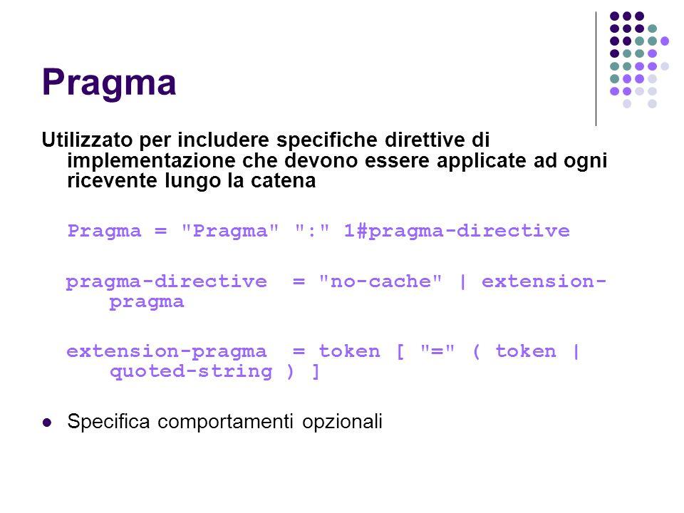 Pragma Utilizzato per includere specifiche direttive di implementazione che devono essere applicate ad ogni ricevente lungo la catena Pragma =