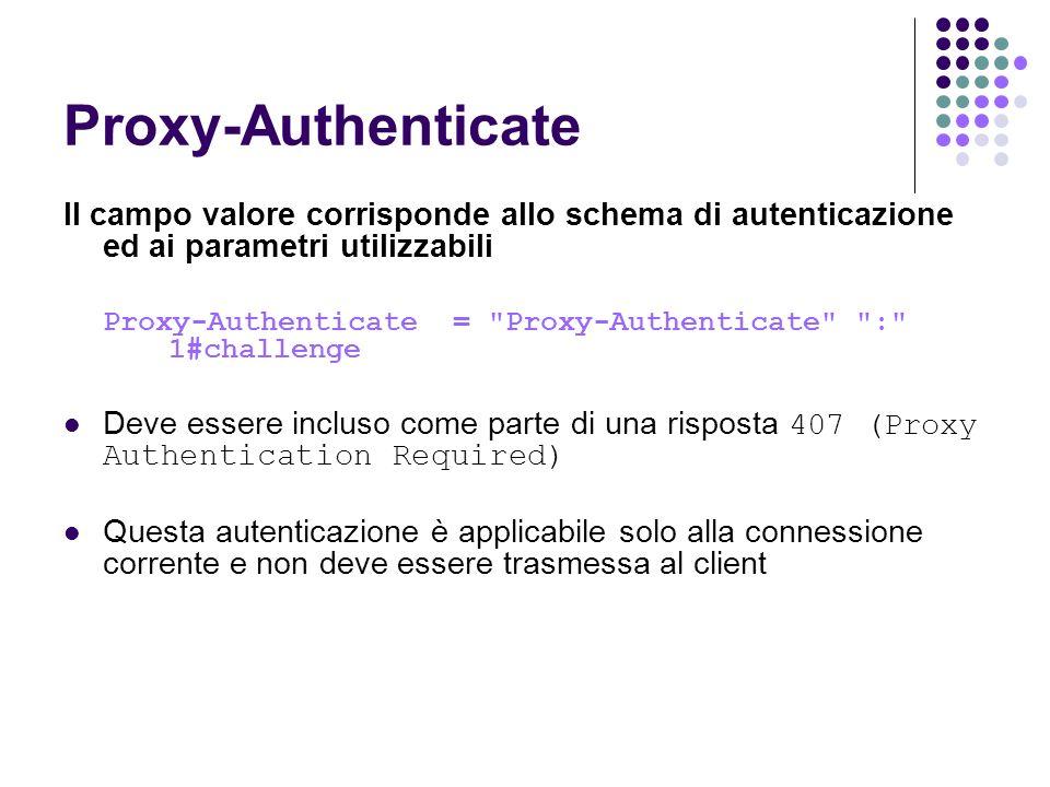 Proxy-Authenticate Il campo valore corrisponde allo schema di autenticazione ed ai parametri utilizzabili Proxy-Authenticate =