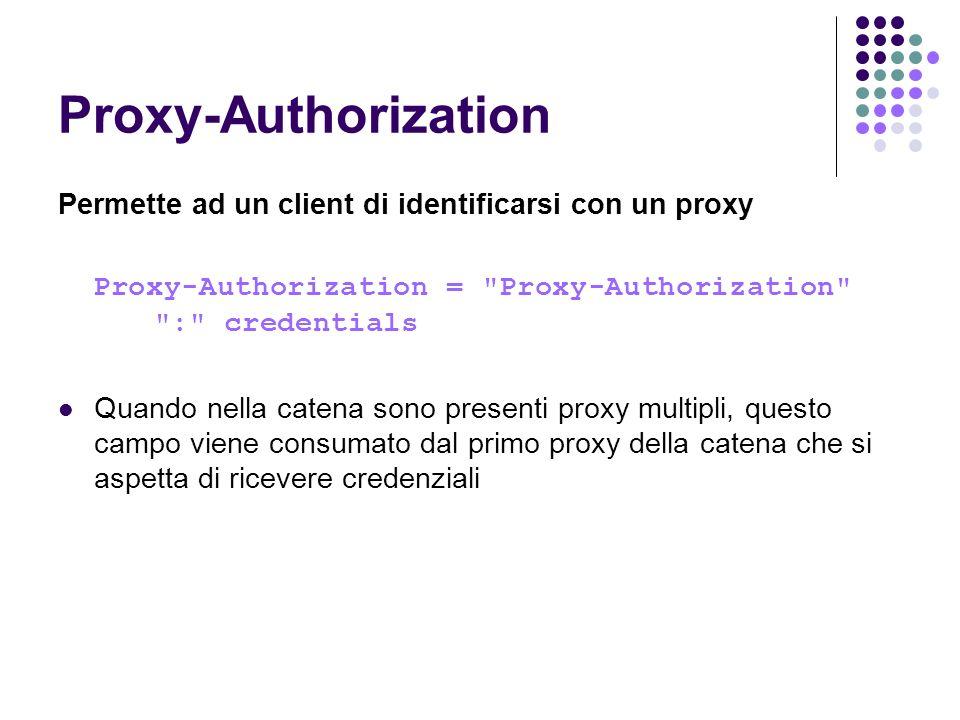 Proxy-Authorization Permette ad un client di identificarsi con un proxy Proxy-Authorization =