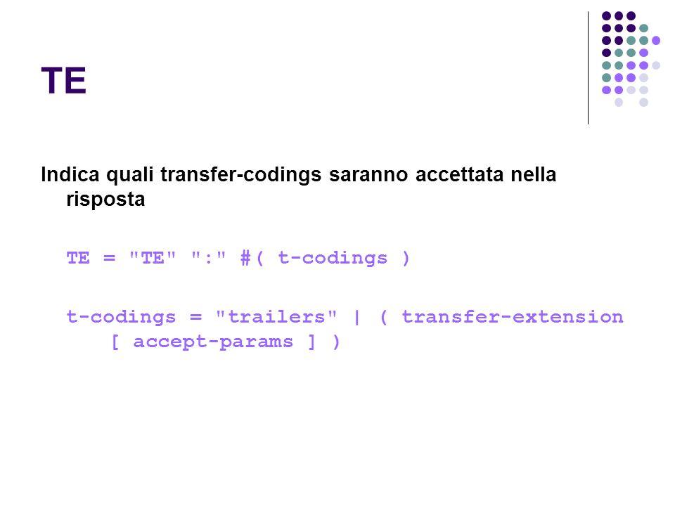 TE Indica quali transfer-codings saranno accettata nella risposta TE =
