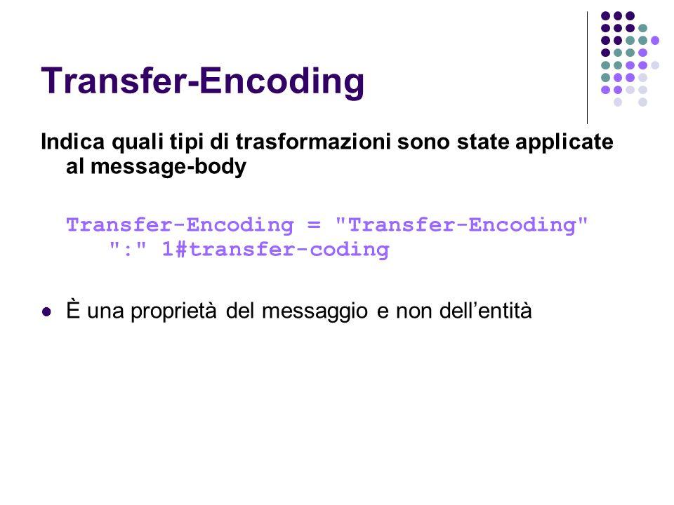 Transfer-Encoding Indica quali tipi di trasformazioni sono state applicate al message-body Transfer-Encoding =