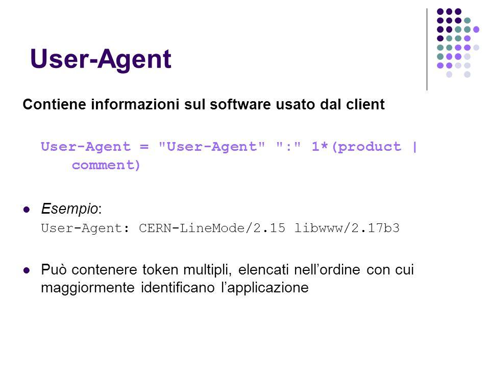 User-Agent Contiene informazioni sul software usato dal client User-Agent =