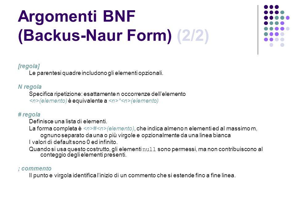 Argomenti BNF (Backus-Naur Form) (2/2) [regola] Le parentesi quadre includono gli elementi opzionali. N regola Specifica ripetizione: esattamente n oc