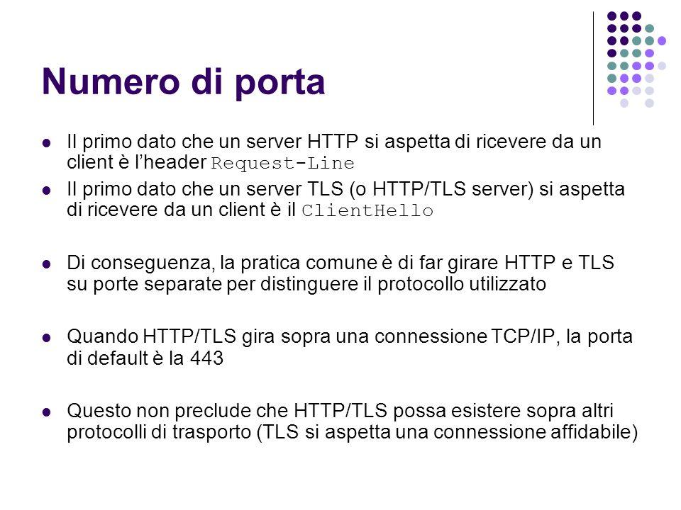 Numero di porta Il primo dato che un server HTTP si aspetta di ricevere da un client è lheader Request-Line Il primo dato che un server TLS (o HTTP/TL
