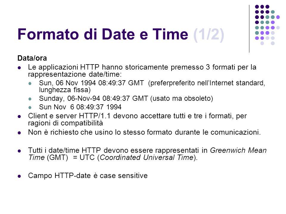 Formato di Date e Time (1/2) Data/ora Le applicazioni HTTP hanno storicamente premesso 3 formati per la rappresentazione date/time: Sun, 06 Nov 1994 0