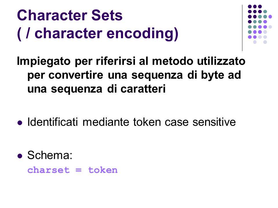 Character Sets ( / character encoding) Impiegato per riferirsi al metodo utilizzato per convertire una sequenza di byte ad una sequenza di caratteri I
