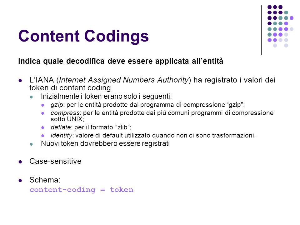 Content Codings Indica quale decodifica deve essere applicata allentità LIANA (Internet Assigned Numbers Authority) ha registrato i valori dei token di content coding.