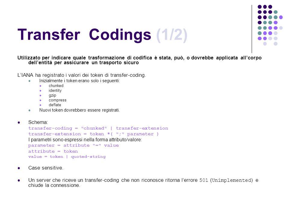 Transfer Codings (1/2) Utilizzato per indicare quale trasformazione di codifica è stata, può, o dovrebbe applicata allcorpo dellentità per assicurare