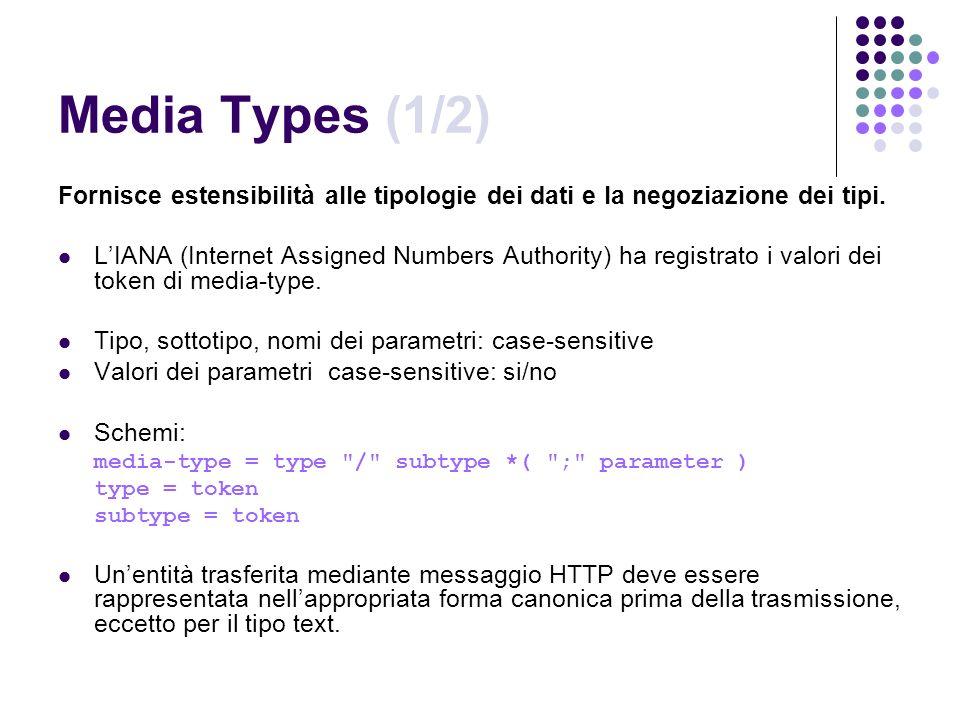 Media Types (1/2) Fornisce estensibilità alle tipologie dei dati e la negoziazione dei tipi. LIANA (Internet Assigned Numbers Authority) ha registrato